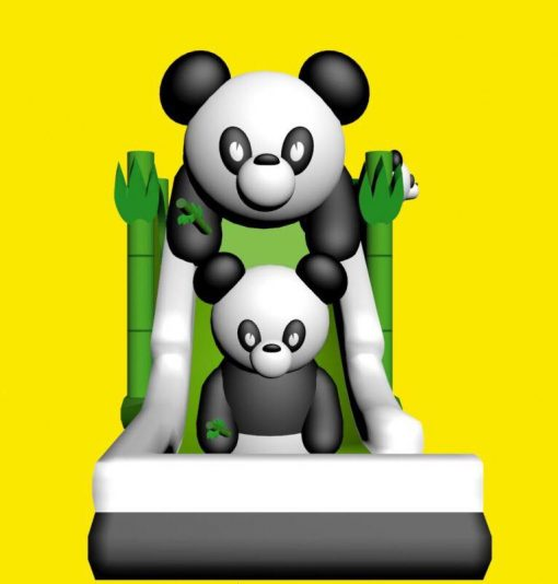 Opblaasbare glijbaan met panda's huren bij WE-inflate