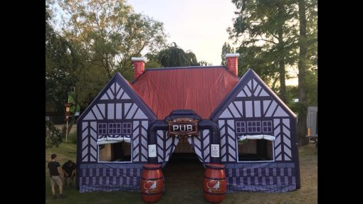 Pub, opblaasbare feesttent, partytent, thematent voor 't Klaverblad