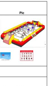 opblaasbare voetbaltafel, schets, te koop bij WE-inflate