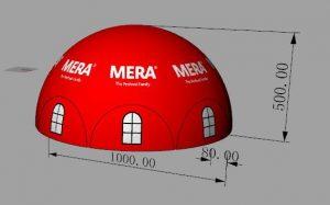 Mera Petfood dome, Maatwerk bij WE-inflate, van ontwerp tot prachtige tent